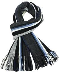 Dahlia Men\'s 100% Fine Acrylic Colorful Striped Knit Long Scarf - Blue