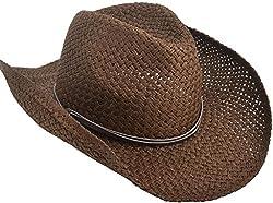 Unisex Woven Ranch Straw Western Cowboy Cowgirl Hat, Shapeable Brim,Chocolate