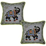 Handmade Elegant Embroidered Elephant Cotton Cushion Cover Pillow Cover 17 Inches 2 Pcs