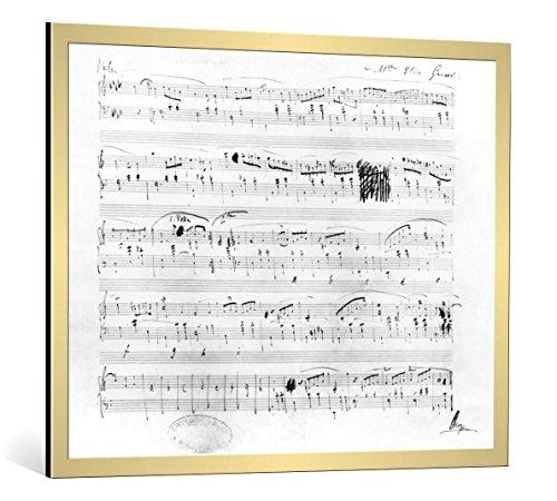 """Quadro con cornice: Frederic Chopin """"Ms.117, Waltz in F minor, Opus 70, Number 2, dedicated to Elise Gavard"""" - stampa artistica decorativa, cornice di alta qualità, 100x80 cm, Oro spazzolato"""