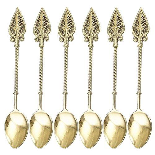 Retro Creative 6-pieces Tablespoon Coffee Scoops Stirring Spoon Sugar Spoon Tea Spoon Ice Cream Scoops Seasoning Spoon (Silver)