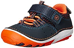 Stride Rite SM Amos Sneaker (Infant/Toddler), Navy/Orange, 5.5 M US Toddler
