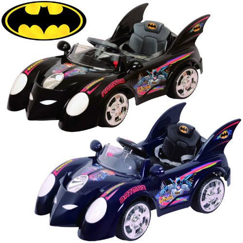 New BATMAN BATMOBILE POWER RIDE ON KIDS CAR in Blue or Black (Color sent at random)6V 10AH Battery RC Music