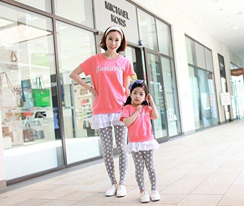 [ニューライフスカイ]子供服 親子ペア 子供の服 短袖 ピンク lbertz0025 (ママ:M )