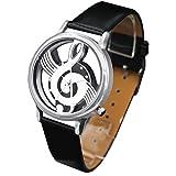 ZooooM 文字盤 音符 スケルトン 腕時計 ユニーク デザイン ファッション アクセサリー カジュアル フォーマル 男 女 兼用 メンズ レディース (ブラック) ZM-SUKEONPU-BK