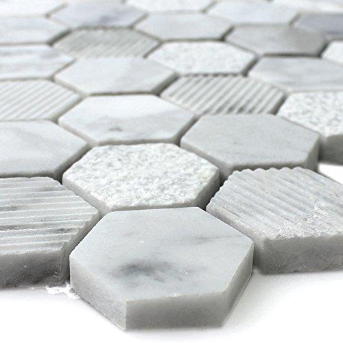 naturstein hexagon mosaikfliesen carrara weiss. Black Bedroom Furniture Sets. Home Design Ideas