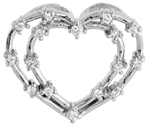 Sterling Silver Jeweled Heart Pendant, w/ Cubic Zirconia stones, 1 inch (23 mm)
