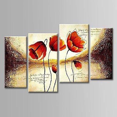 BSF pintado a mano floral abstracto pintura al óleo conjunto de 4con diseño para decoración del hogar listo para colgar