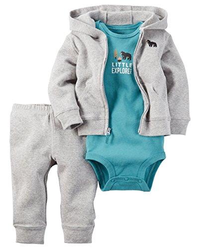 Carter's Baby Boys' 3 Piece Cardigan Set Little Explorer Bear 9M