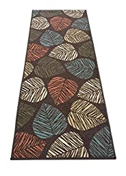 Rubber Collection Leaves Multi-Color Printed Slip Resistant Rubber Back Latex Contemporary Modern Area Rugs and Runners (Brown Multi Leaves, 23\