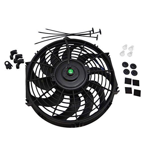 "12"" Inch Universal Slim Fan Push Pull Electric Radiator Cooling 12V Mount Kit Yj Racing"