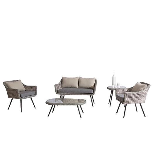 Salon de jardin pour 4 personnes en rotin PE et aluminium, 2 fauteuils de jardin et 1 canapé