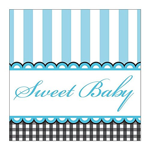 Sweet Baby Feet Blue Beverage Napkins, 16 Count (Pack of 3)