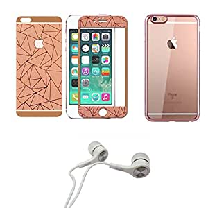 3D rose gold front/back tempered glass+back cover for Iphone 4s +Earphone