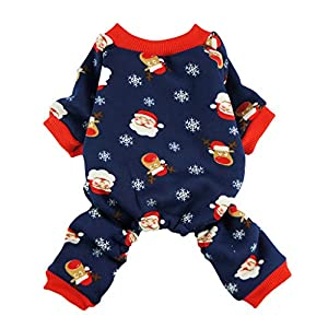 Fitwarm Christmas Santa Thermal Dog Pajamas Pet Clothse Fleece Coat Jumpsuit Blue Medium