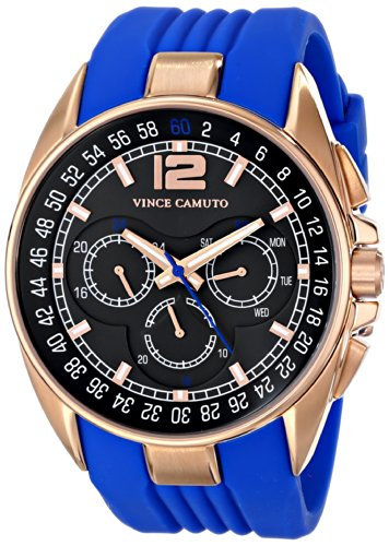 Vince Camuto VC/1052BLRG - Reloj unisex, correa de silicona color azul