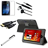 5 in 1 Black Leather Case with Screen Protector / Stylus / Headset / Micro HDMI Cale for Acer ICONIA TAB A100