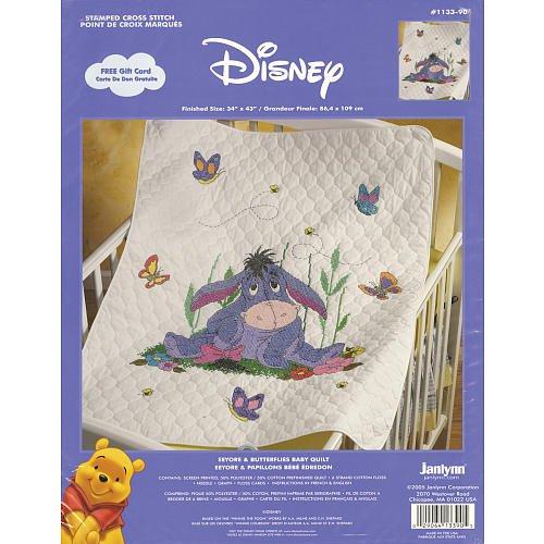 Janlynn stamped cross stitch kit eeyore butterflies