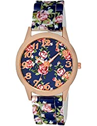 Excelencia CW-42-BlueSil Blue Silicone Floral Printed Analog Watch For Women, Girls