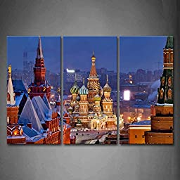 First Wall Art® - Traditional Building In Moscow Wall Art Painting The Picture Print On Canvas City Pictures For Home Decor Decoration Gift