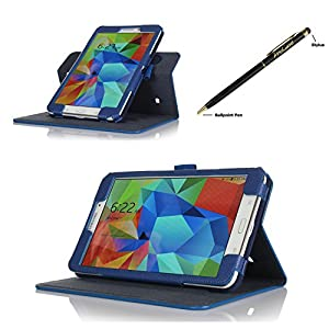 ProCase Samsung Galaxy Tab 4 8.0 Dual View Case (horizontal and vertical display) - Rotating Stand Folio Cover Case for 8 inch Galaxy Tab 4 (2014 released) with auto Sleep/Wake, Corner Protected, and bonus Stylus Pen (Navy, Dark Blue) from ProCase
