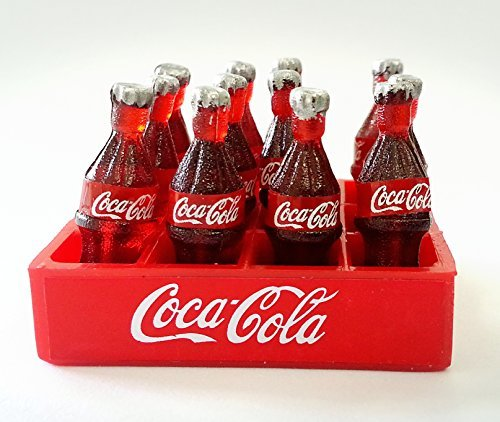 12 Coca Cola Bottles and Tray Dollhouse Miniature Food, Collectibles, Coke, Figure, Gift - 1