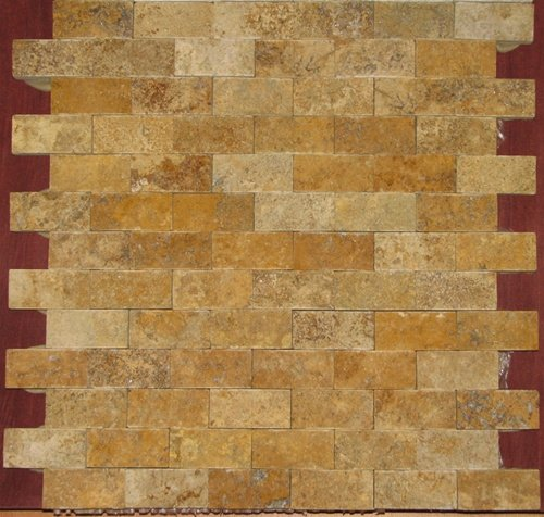 Gold/Yellow 1 X 2 Split Face Travertine Mosaic Tile