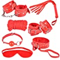 Saphira toys. Red Constraint set. Bondage. Handcuffs necklace leash mask whip rope. BDSM
