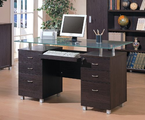 Buy Low Price Comfortable Contemporary Home Office Computer Desk with Glass Top (B001HFFE5I)