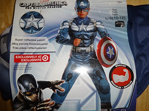 Marvel Captain America the Winter Soldier Costume with Reflective Chest Patch 10-12