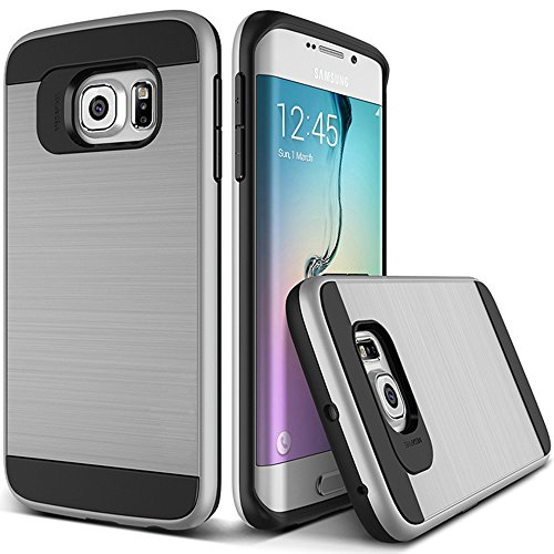 OnPrim Stylish Wiredrawing Surface Flexible Silicone Rubber And Hard PC Hybrid Double Layers Defend Armour Case For Samsung Galaxy S6 Edge 5.1 Inth Silver