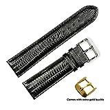 deBeer brand Teju Lizard Grain Watch Band (Silver & Gold Buckle) - Black 20mm