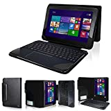 Evecase 2-in-1 Leather Keyboard Portfolio Stand Case Cover for Asus Transformer Book T100 Chi 10.1-inch Convertible Tablet Hybrid PC - Black