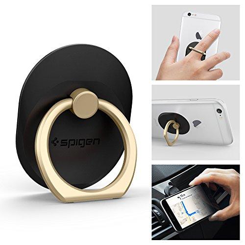 Spigen スマホ リング, Style Ring [ 落下防止 + スタンド機能 + 車載ホルダー ] iPhone6s / iPhone6s Plus / iPhone 6 / Plus / 5s / 5 / 5c / iPad Mini / iPad Air / Galaxy / Xperia / スマートフォン・タブレットPC 対応 (ゴールド SGP11676)