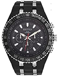Exotica Fashions Ladies Watch With Water Resistance Plastic Black Case With Black Dial And Black PU Band