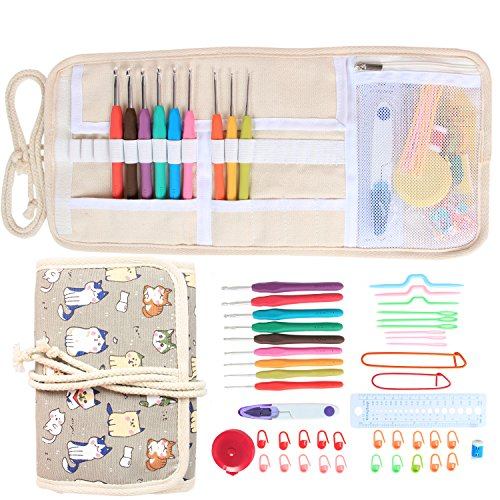 Damero Ergonomic Crochet Hooks Set, Travel Canvas Roll Organizer with 9pcs 2mm to 6mm Soft Grip Crochet Hooks and Complete Knitting Accessories, All in One, Easy to Carry, Cartoon Cats