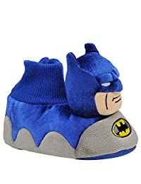 "DC Comics Batman ""Bat Head"" Blue Sock Top Slippers Toddler/Little Kid"