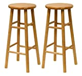 Winsome Wood S/2 Wood 30-Inch Bar Stools, Natural Finish (Kitchen)