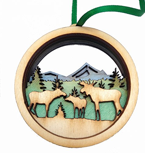 Wooden 3D Holiday Ornament Moose Scene - Made in Maine - Gift Boxed (Made In Maine compare prices)
