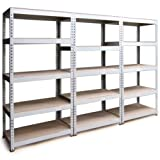 3 x 90cm Boltless Garage / Shed / Utility Shelves Racking Metal Storage Units