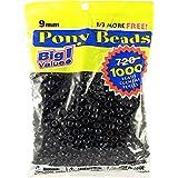 Darice 06121-2-04 1000 Count Pony Beads, 9mm, Opaque Black