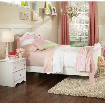 Standard Furniture Bubblegum 2 Piece Sleigh Bedroom Set in White & Pink