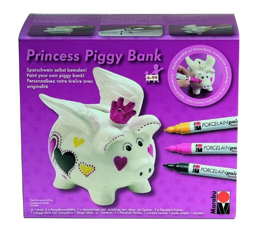 marabu 012300088 princess piggy bank porcelain painter malset. Black Bedroom Furniture Sets. Home Design Ideas