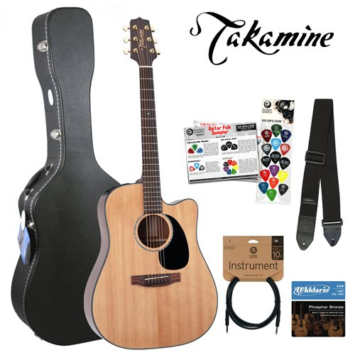 Takamine JB-EG340SC-Kit-Q1 G-Series EG340SC Gloss Natural Dreadnought 6-String Acoustic Electric Guitar Kit