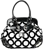 Black and White Chic Mod Circle Bowler Satchel Hobo Handbag