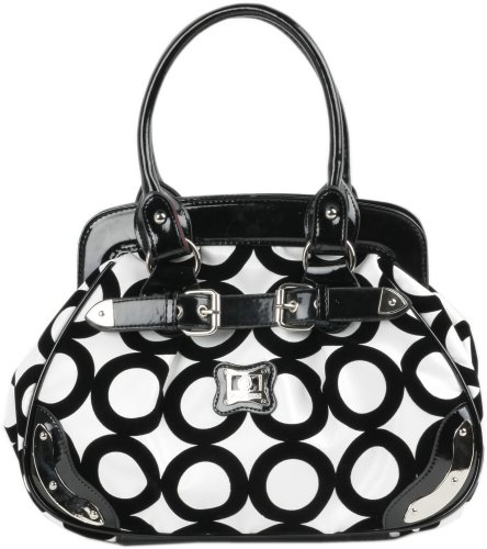 Black and White Chic Mod Circle Bowler Satchel