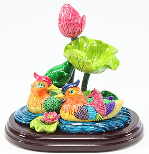 Feng Shui Mandarin Ducks in Lotus Pond Statues Figurines Marriage Luck Wedding Gift Home Decor Housewarming Congratulatory Gift US Seller