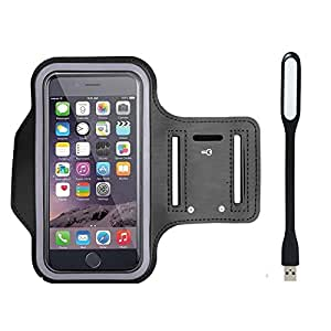 New Hot (5.5) Arm Band Workout Cover Sport Gym Case For Micromax Yu Yureka With USB Led Light