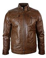Veste motard en cuir de style réel bronzage zippée Design brun Casual Rétro équipée