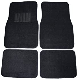 Front & Rear Carpet Car Truck SUV Floor Mats - Black